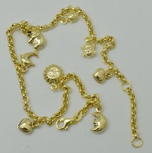 Real 10K Yellow Gold Multi Charms Heart Turtle Lady bug Ankle Bracelet  9''-10''