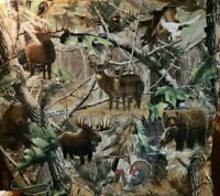 Real Tree Moose, Bear, Deer Fleece Fabric Panel -- New