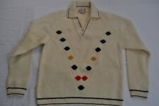 VTG 60's Minarelli Made In Italy Ivory 100% Wool Pullover Varsity Sweater Sz S