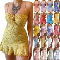 BOHO Womens Ladies Summer Beach Mini Dress Strap Shirt Sun Dresses UK Size 8-22