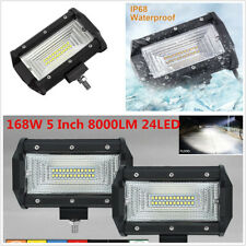 2x 5inch 12V 24V 168W LED Work Light Bar Flood Offroad 4WD Pickup Fog Truck
