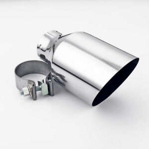 """2.5"""" 64MM Inlet Exhaust Tip With Clamp 4.5"""" 114MM Out Angle Cut Single Wall"""