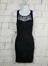 """Body Central woman Black Lace Party Cocktail Dress size Medium built-in bra 32""""L"""