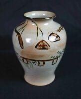 Vintage Mid Century Japanese Stoneware Vase Hand Painted Marked