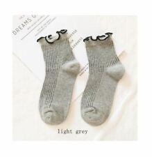 Ladies Ankle Socks Ruffle Edge Contrast Trim - Light Grey and Black - LS0040