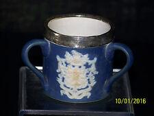 """Rare""Antique c1800 Adams Tunstall 3 Handle Love Cup Silver Rim Band Royal Crest"
