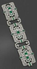 Broad Cuff Style Tennis Bracelet Green Baguette 925 Sterling Silver Cocktail