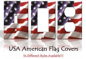 American Flag USA America Patriotic Light Switch Covers Home Decor Outlet