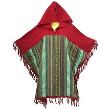 Peasant Boho Hand Woven Cotton Hooded Maxican Poncho/Sweater with Fringe YX817