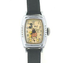 1939 Original Mickey Mouse Tonneau Wrist Watch RUNS Disney