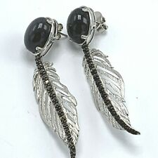 Dallas Prince Black Spinel Sterling Silver Feather Drop Earrings