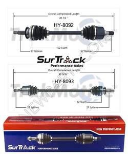 2 Front CV Axle Shafts SurTrack for Hyundai Santa Fe FWD 01-06 2.4L Std.Transm.