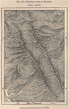 Parque nacional huascaran, cordillera blanca, huaylas. pérou 1885 old map