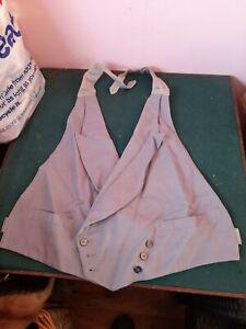 Vintage Old Antique Waistcoat Front Grey Original Linen Buttons 1930s 1920s