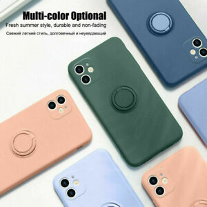 Liquid Silicone Case For iPhone 11 12PRO XR 7 8 SE Shockproof Ring Stand Soft