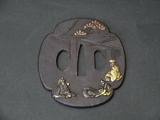 No.4 Japanese Samurai Iron Tsuba The Heian beauty & Court nobles Edo period.