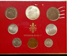More details for vatican 1967 paul vi 8 coin uncirculated sets year v silver 500 lire- lira med82