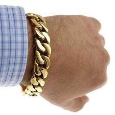 "Heavy Bracelet 15MM Wide Gold Finish Stainless Steel Men Hip Hop Cuban Link 8.5"""