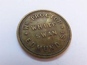 W M Proctor White Swan Edmund St Two & Half Pence 2 1/2 Token (myrefn2920B)