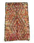Vintage Moroccan Rug Beni M'guild Pink, Teal, Orange, Wine Red. 10 x 6