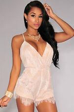 Abito tuta ricamo pizzo nudo scollo Trasparente mini Lace Romper club dress L