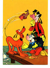 Pluto Dog Catches Fish-Mickey Mouse-Disney Characters-Italy Comic Art Postcard