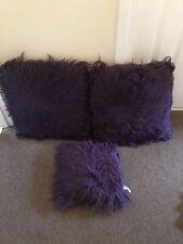 3 Deep Purple Fluffy Cuadrado Cojines Sofá Cama Decoración 2 Juego Par + 1 pequeñas