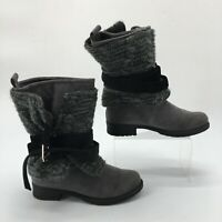 Muk Luks Womens 7 Nikita Mid Calf Blanket Style Winter Boots Gray Faux Suede