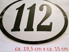 Hausnummer Oval Emaille  schwarze Nr. 112  weißer Hintergrund 19 cm x 15 cm