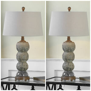 "PAIR 28"" TEXTURED CERAMIC AGED BLUE GRAY FINISH TABLE LAMP LIGHT AMELIA UTTERMOS"
