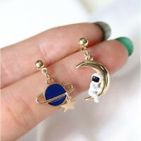 Moon Star Tassel Asymmetric Stud Astronauts Earrings For Women Elegant Jewelry a