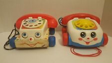 Fisher Price Toy Telephones Vintage & 2000 Pull Toy Rolling Eyes & Sounds Lot 2