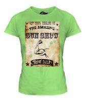 The Amazing Pistola Show Divertido de Mujer Estampado Camiseta Marca Músculos