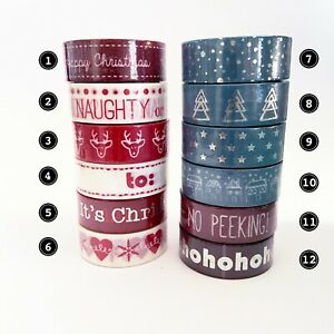 Christmas Washi Tape - Red Blue White Silver Foil - 15mm x 8m - Choose Design