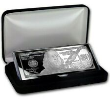 XMAS GIFT - 4 - OZ. PURE 999 SILVER BAR - 2018 - $100 BILL (BOX & COA) - $174.88