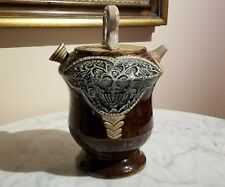 Antique Italian Majolica Pottery Canteen Wine Decanter
