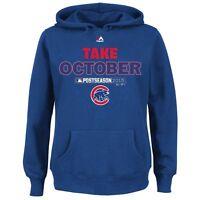 Chicago Cubs Hoodie Sweatshirt Majestic Royal 2015 Playoff Take October Fleece