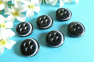 """292C Stunning Buttons Vintage """" Navy Blue """" White Lot Of 6 ÉP.70 /80"""