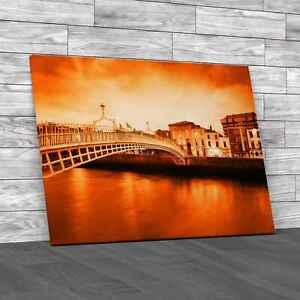 Dublin At Dusk Orange Canvas Print Large Picture Wall Art