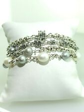 Michael Dawkins 4-strand grey and white pearl sterling silver bracelet