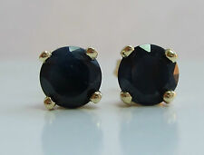 Brand New 1.50ct 5mm Black Sapphire 9ct Gold Stud Earrings