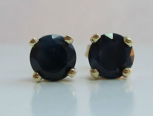 Brand New 1.50ct 5mm Black Sapphire 9ct Gold Stud Earrings £85 or Best offer