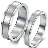 Couples Men Women Stainless Steel Double Grooved Engagement Wedding Band Ring