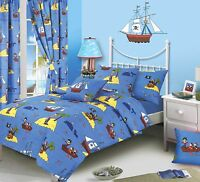 BOYS TREASURE ISLAND PIRATE SHIPS SKULLS DUVET COVER BEDDING SET OR CURTAINS