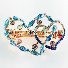 USA Barrette Hair Clip Rhinestone Crystal Hairpin Accessory Gold Blue Heart 17