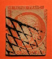 Marcophilie ! Cérès N°5b, (TB-1014-2) oblitér grille sans fin,750€+600 € !! Def.