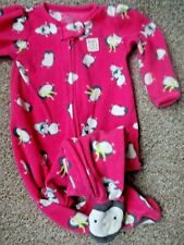 BABY GIRLS WARM WINTER CLOTHES 6-9-12 MONTHS - CARTER'S PENGUIN FLEECE ALL IN ON