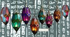 NEW MOROCCAN HANGING COLOURED GLASS LANTERN TEA LIGHT HOLDER HOME GARDEN VINTAGE