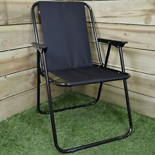 Outside Foldable Camping Black Striped Camp Chair with Armrests Garden Beach