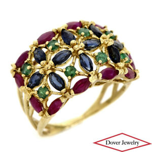 Estate 2.50ct Ruby Sapphire Emerald  Gold Cluster Floral Cocktail Ring 6.2 Gr NR